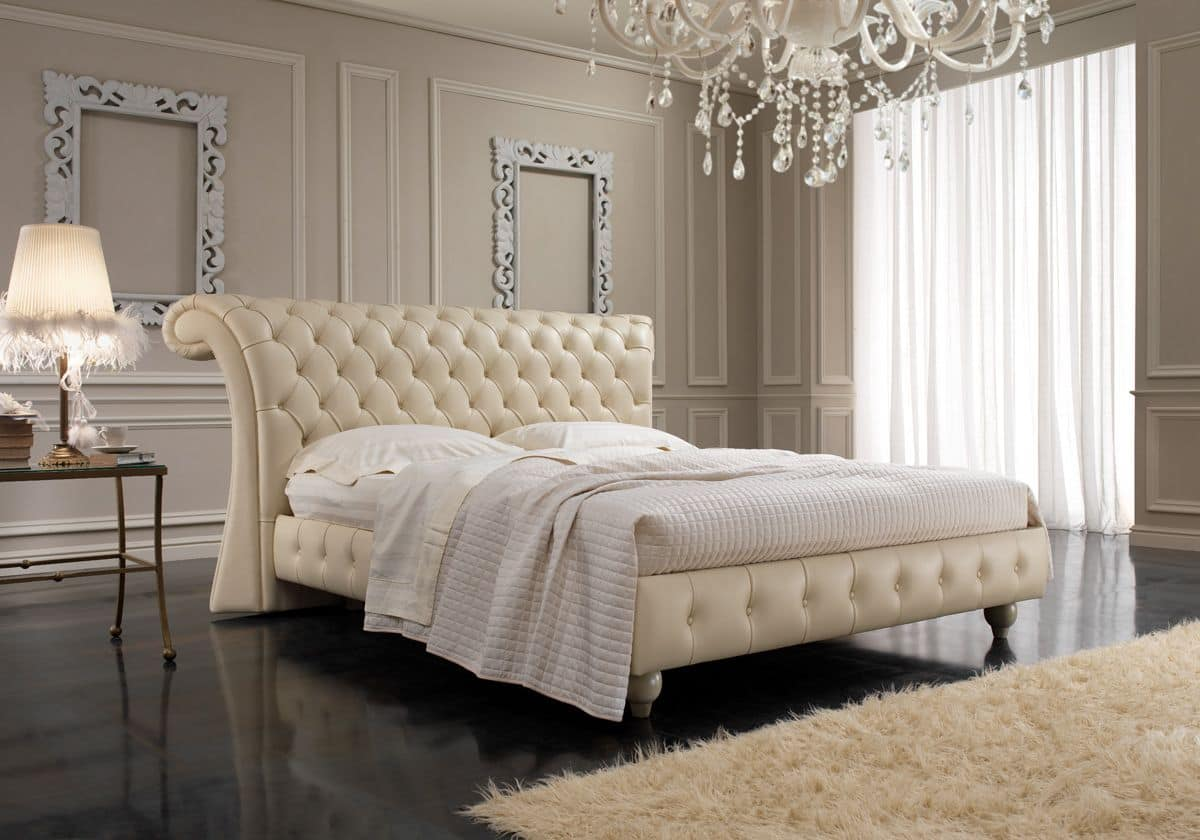 English style double bed capitonn headboard for bedrooms
