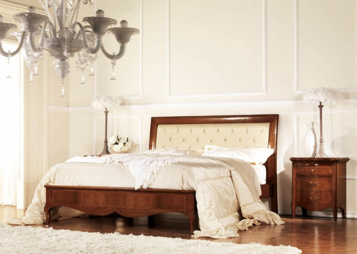 Quilted bed in wood with frame inlaid  IDFdesign
