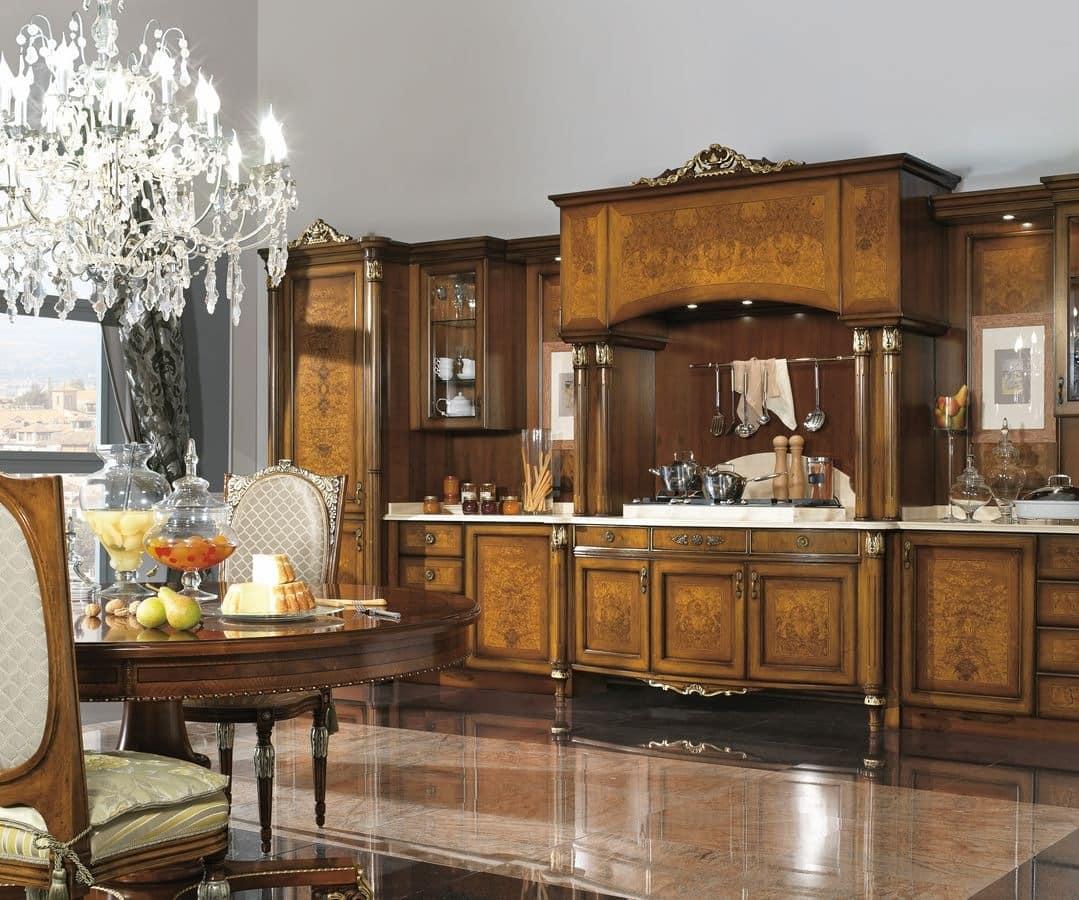 Classic luxury kitchen walnut and ash burl  IDFdesign