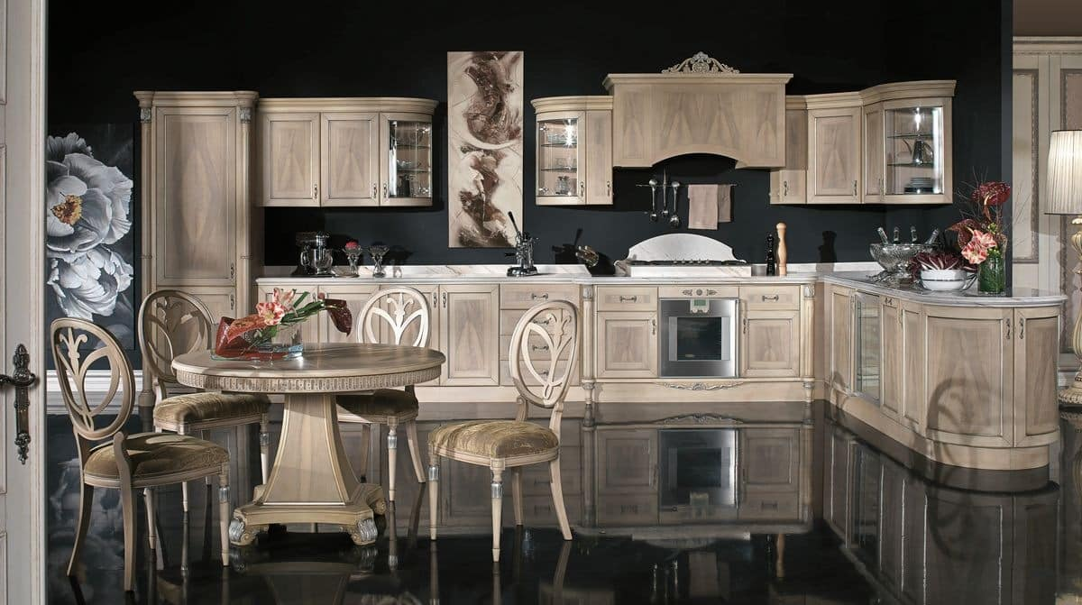 Classic kitchen in veneer wood in different finishes