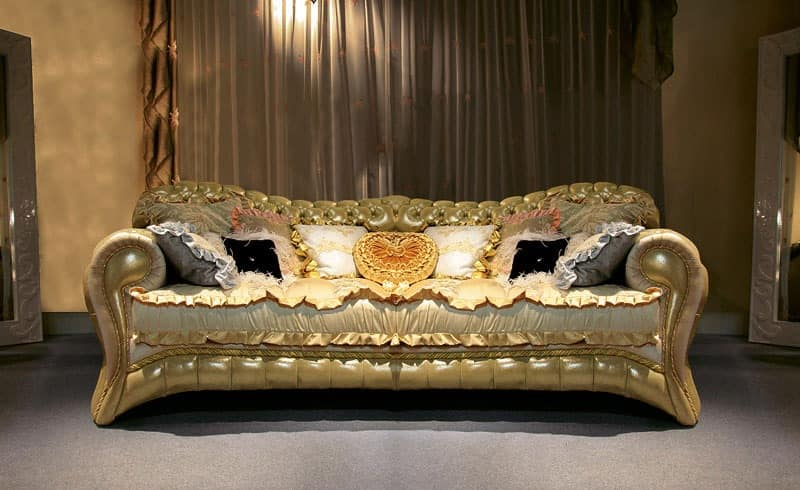 Upholstered quilted sofa hand crafted made in Italy