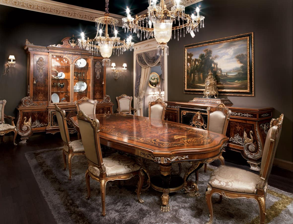 Inlaid dining room solid wood table in Empire style  IDFdesign