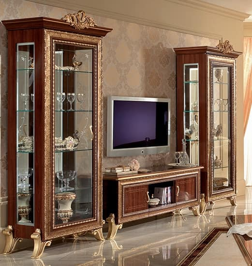 Classic tv cabinet with side display cabinet with golden