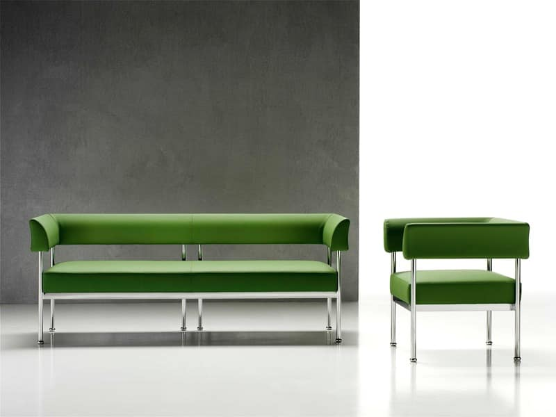 steel frame sofa warehouse leicestershire 3 seater chromed for the office idfdesign jive 3p