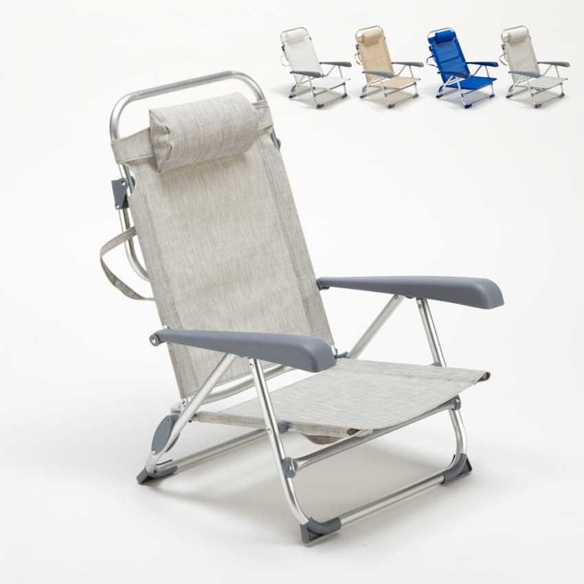 beach chairs with footrest high chair straps big w folding armrests idfdesign small sea aluminum foldable spiaggina gargano ga800csc