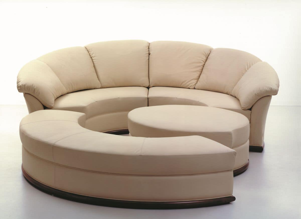Round sofa covered in leather, modular