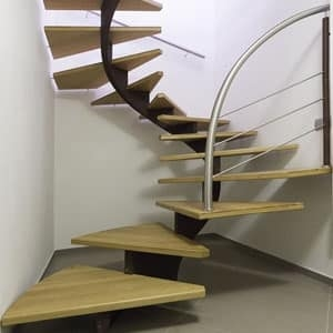 Spiral Staircase In Steel With Oak Treads Idfdesign | Spiral Staircase Wood Treads | Arke | Design | Checker Plate | Platform Stair | Aluminum