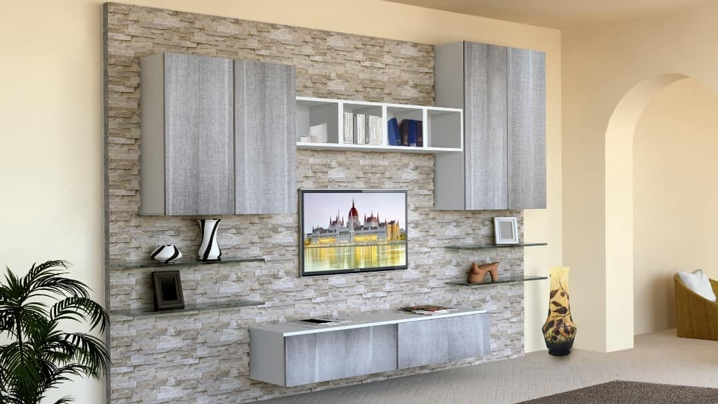Living room furniture with stoneclad wall  IDFdesign