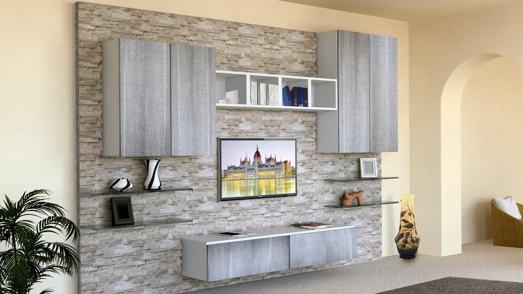 Muebles de sala con paredes de piedra revestida  IDFdesign