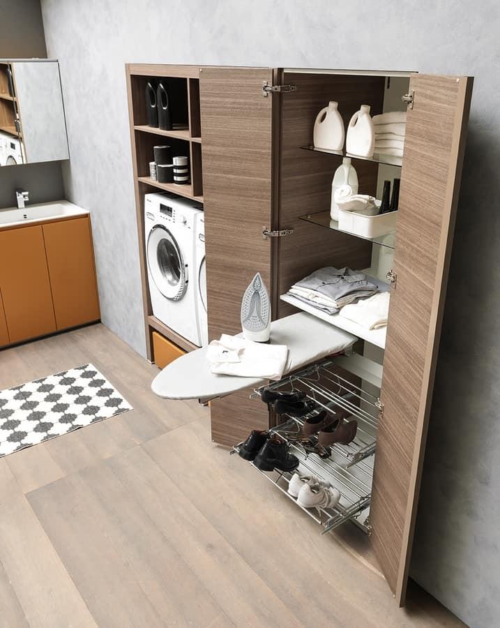 Mobile per lavanderia con asse da stiro lavabo e