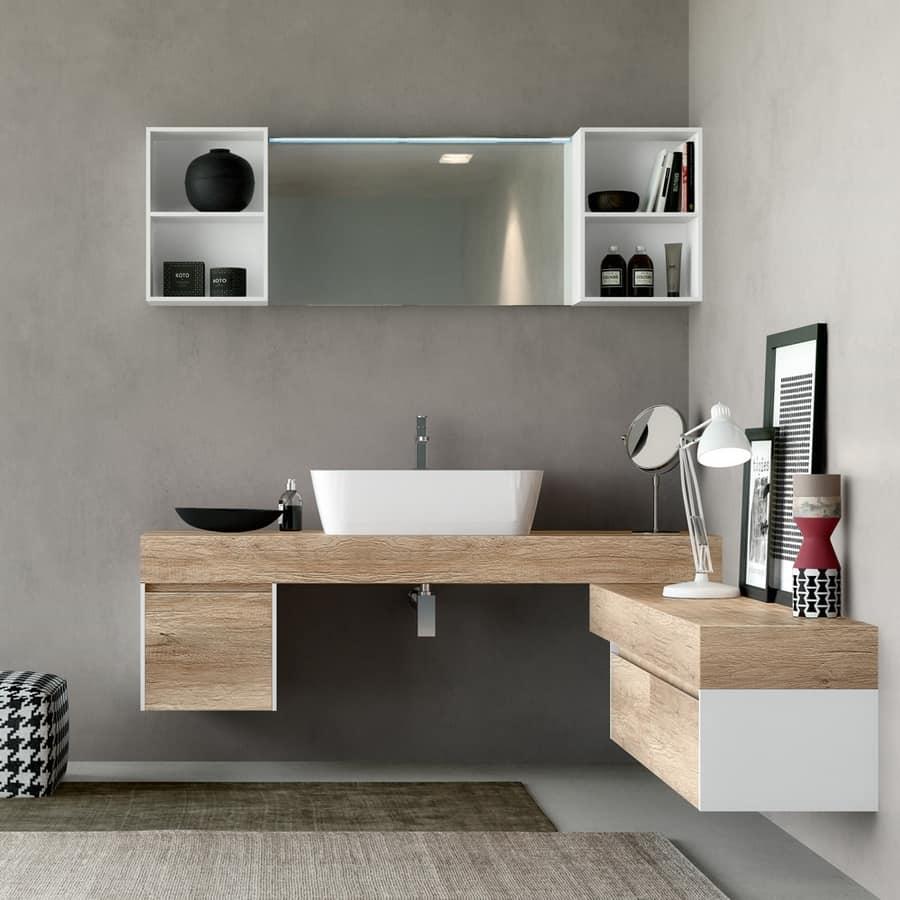 Mobile bagno in legno naturale con effetto ruvido  IDFdesign