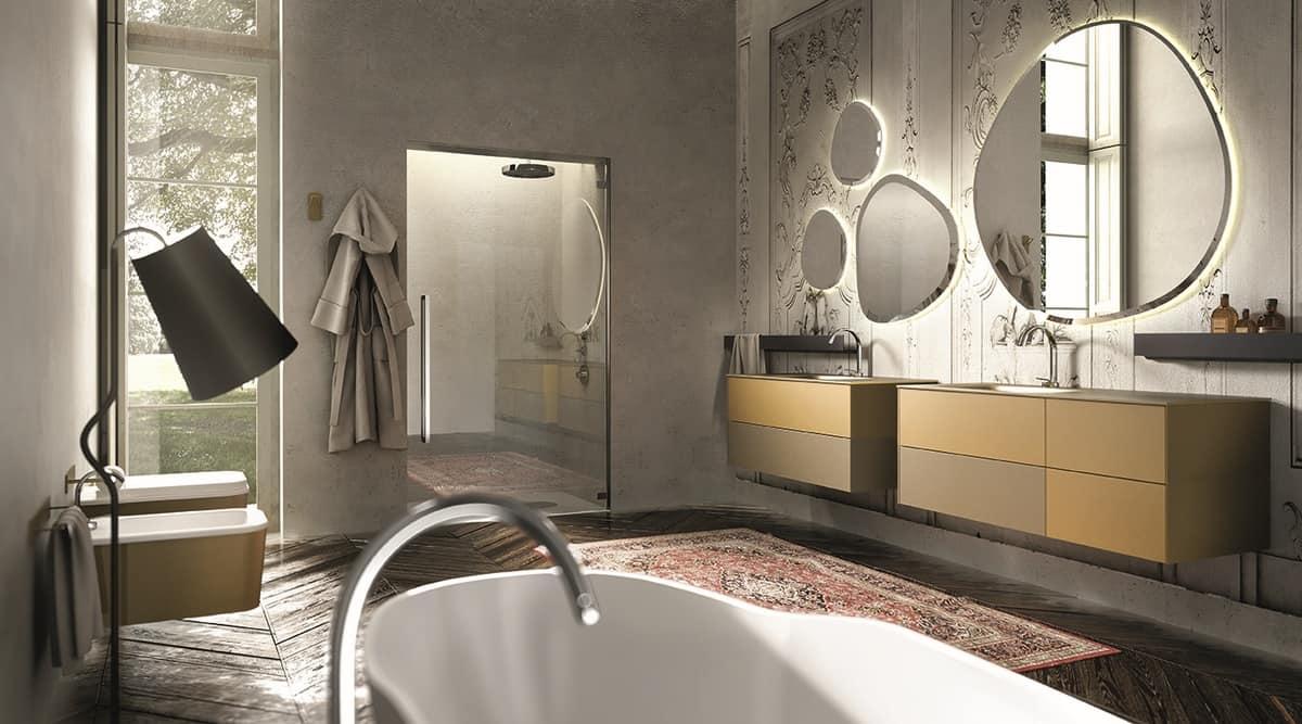 Composizione di mobili da bagno colore crema e senape
