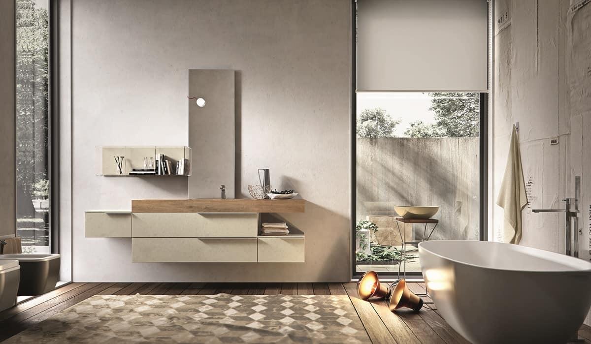 Composizione da bagno in melaminico cemento perla  IDFdesign