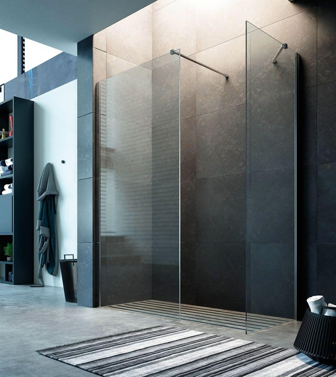 Chiusura doccia walkin installazione a pavimento o su