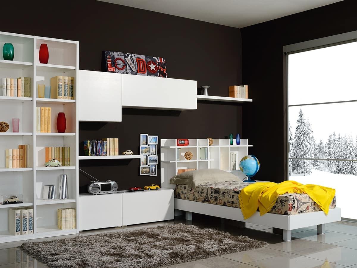 Camera modulare per ragazzi con letto e mobili pensili