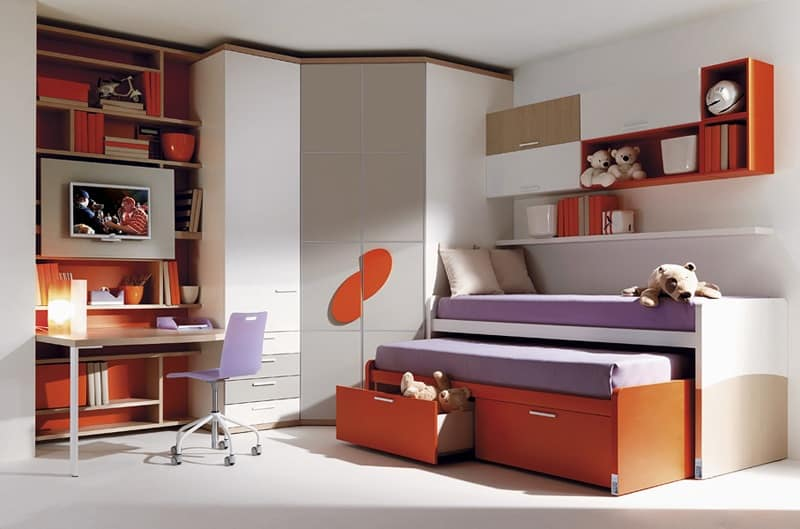 Letto per ragazzi cabina armadio scrivania mobili