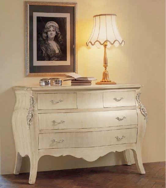 Comodino in legno con base in ferro, per camere da letto. Como Classico Bianco Ideale Per Camere Da Letto Idfdesign
