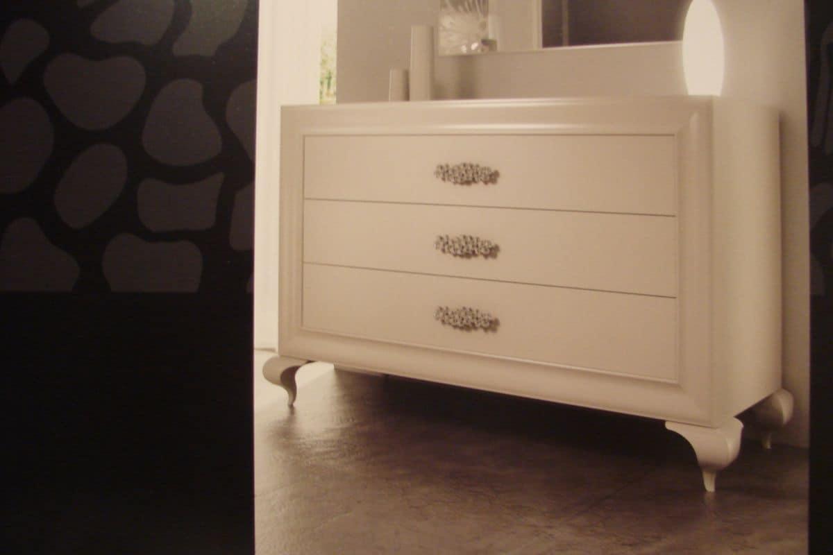 Cassettone laccato bianco per camere da letto di lusso  IDFdesign
