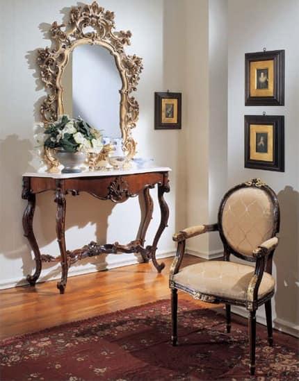 Consolle classica di lusso piano in marmo Botticino