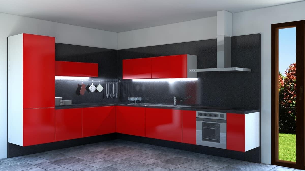 Cucina laccata rossa ad angolo  IDFdesign