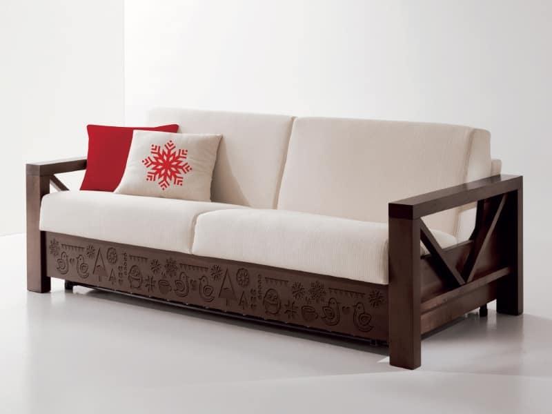 Speciale divano in legno con intagli personalizzati