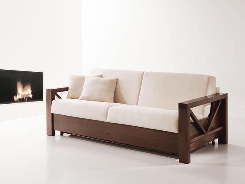 Divano letto in legno trasformabile per salotti  IDFdesign