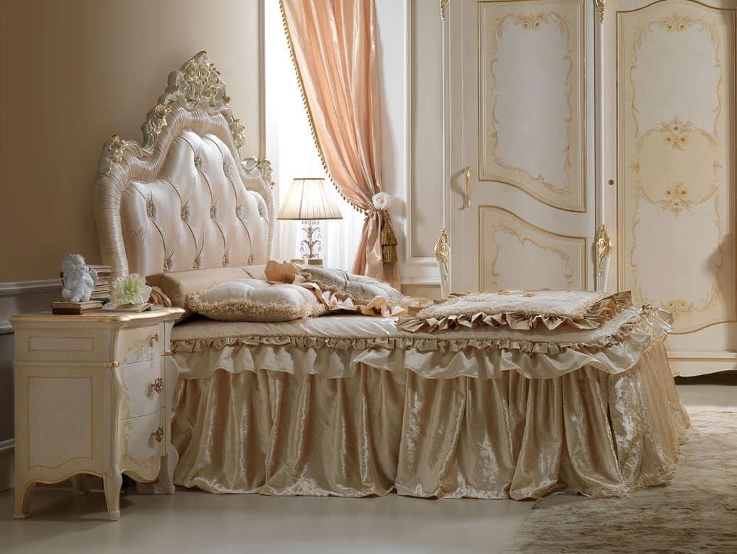 Letto in legno intagliato per camere da letto lussuose