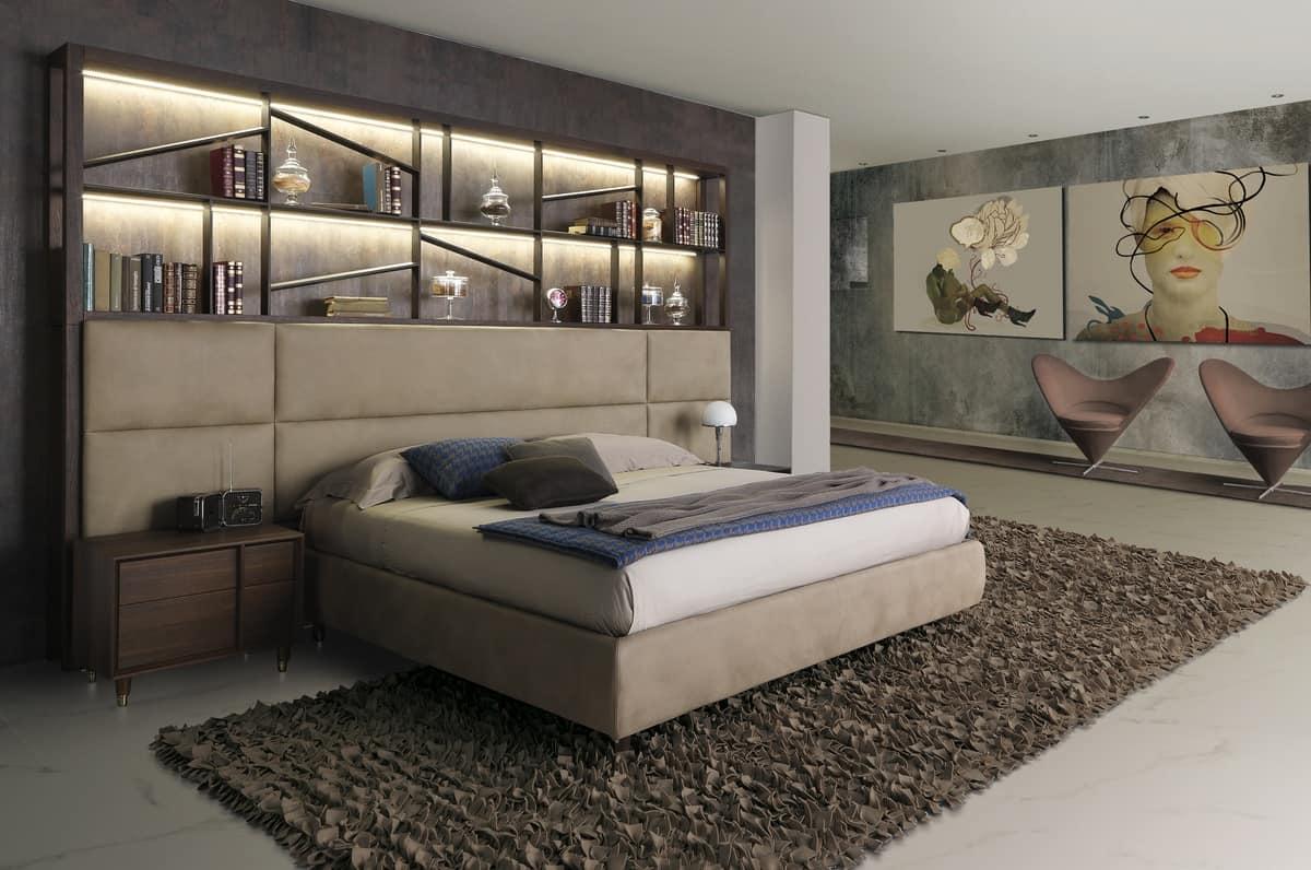 Letto design in legno con libreria e luci LED  IDFdesign