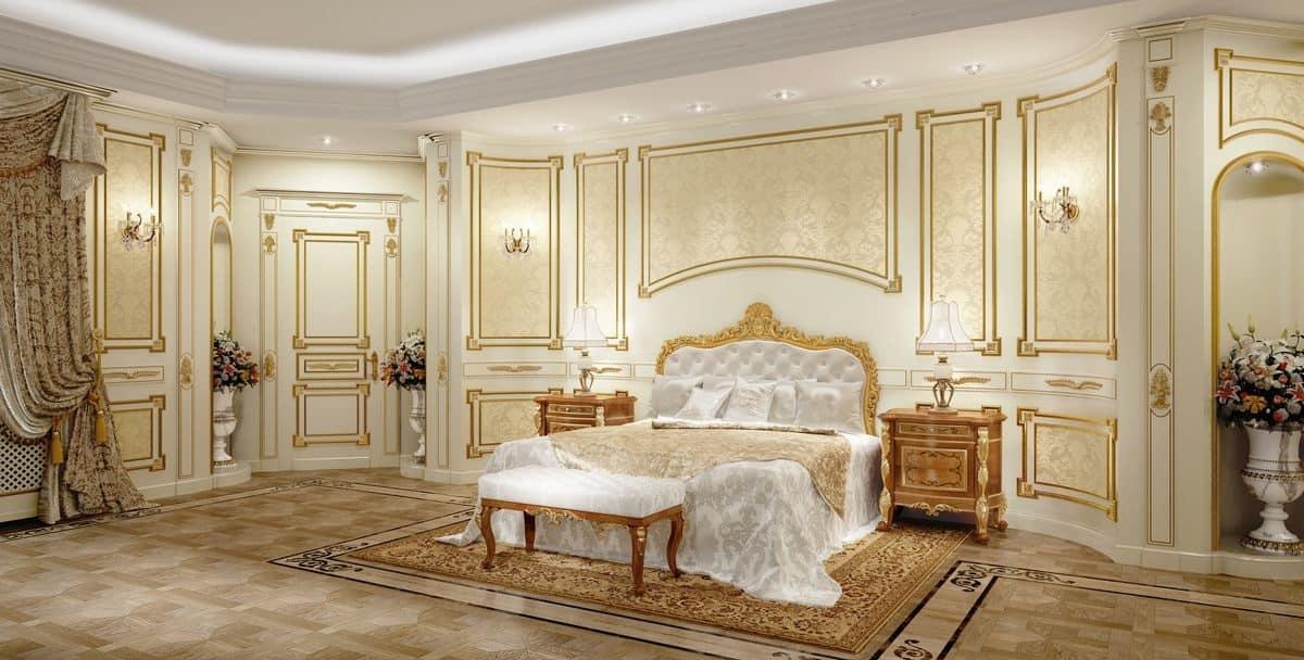 Letto classico di lusso con testiera intagliata per hotel