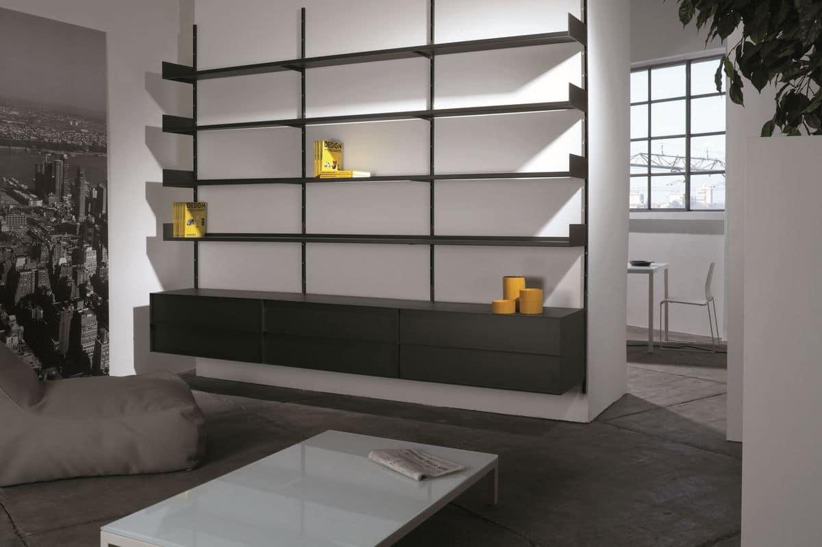 Libreria a muro modulare in metallo laccato per soggiorno  IDFdesign
