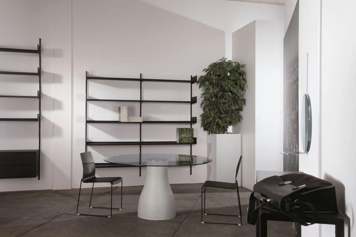 Libreria a muro modulare in metallo laccato per