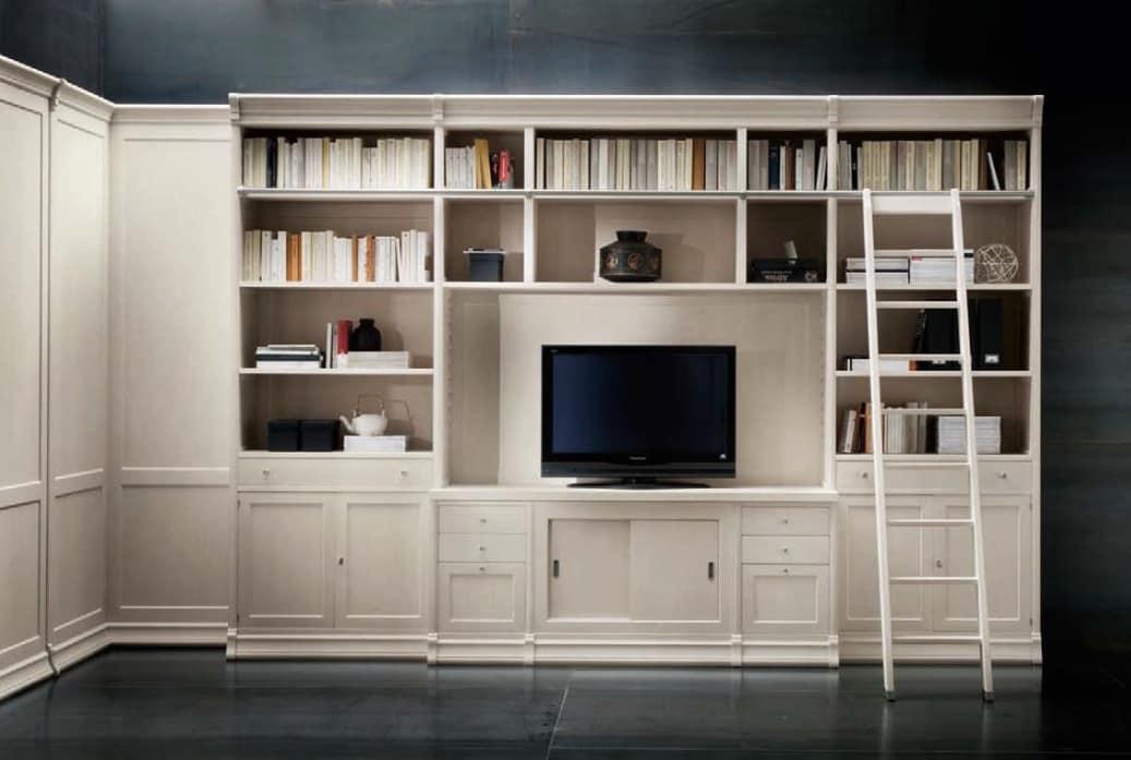 Libreria con vano tv e scaletta per uffici e salotti  IDFdesign