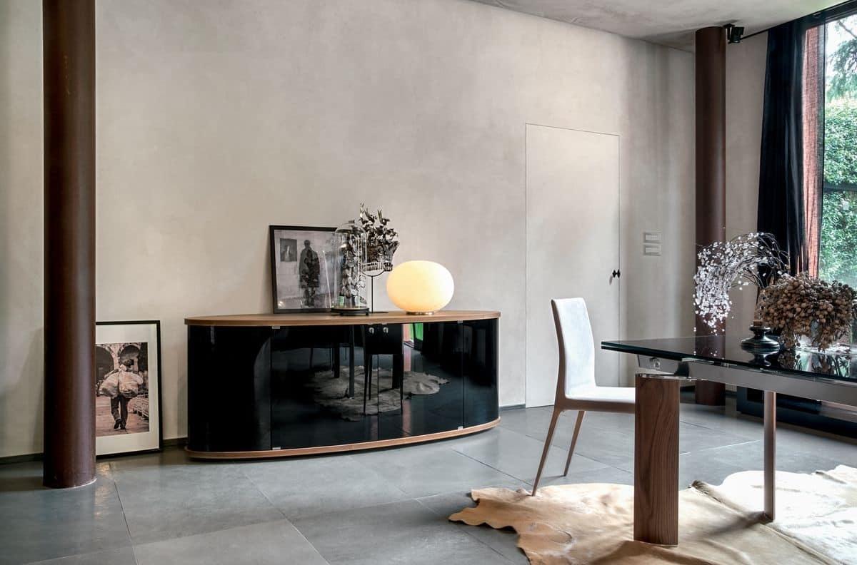 Madia in legno con ante in vetro curvo per sala da pranzo o soggiorno  IDFdesign