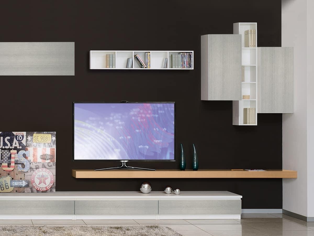 Mobili per soggiorno con librerie e porta TV  IDFdesign