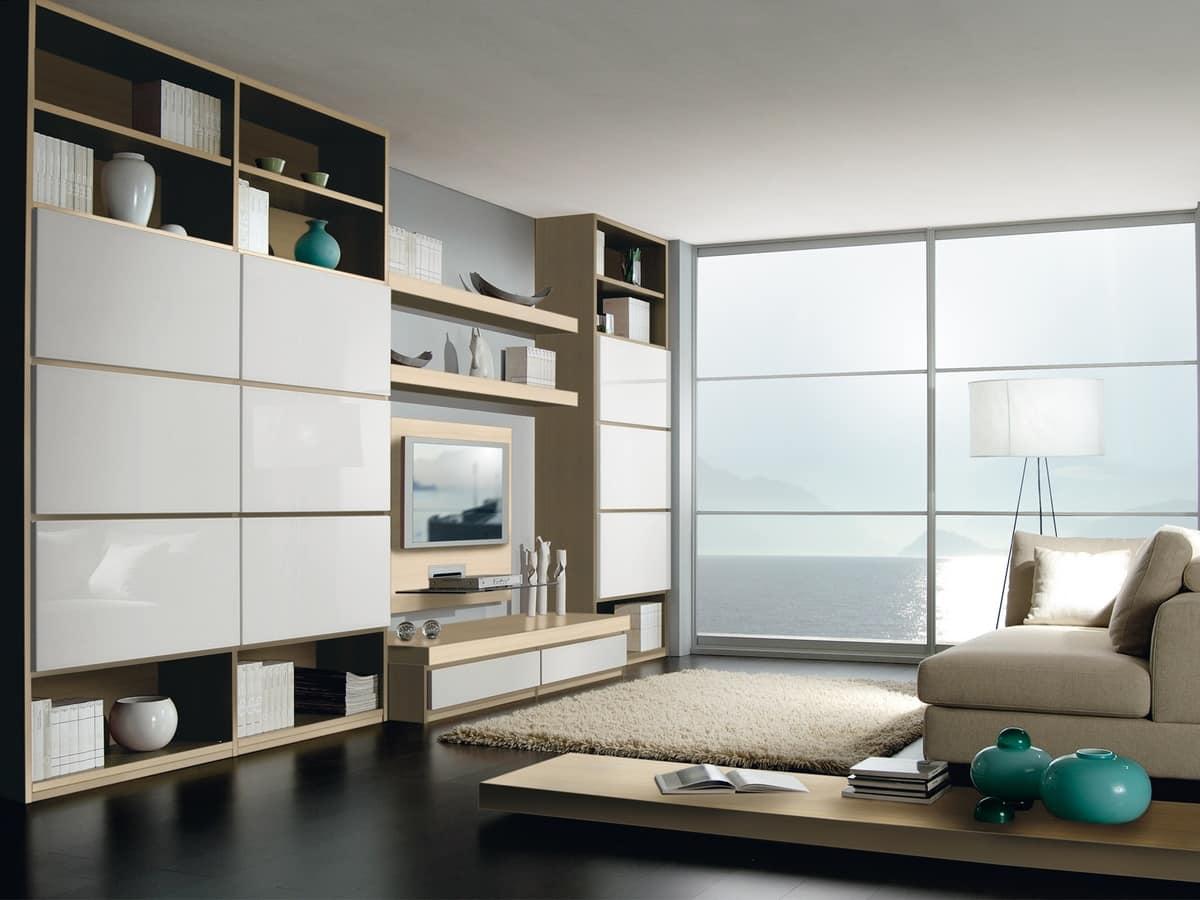 Sistema componibile per soggiorno e ufficio con libreria  IDFdesign