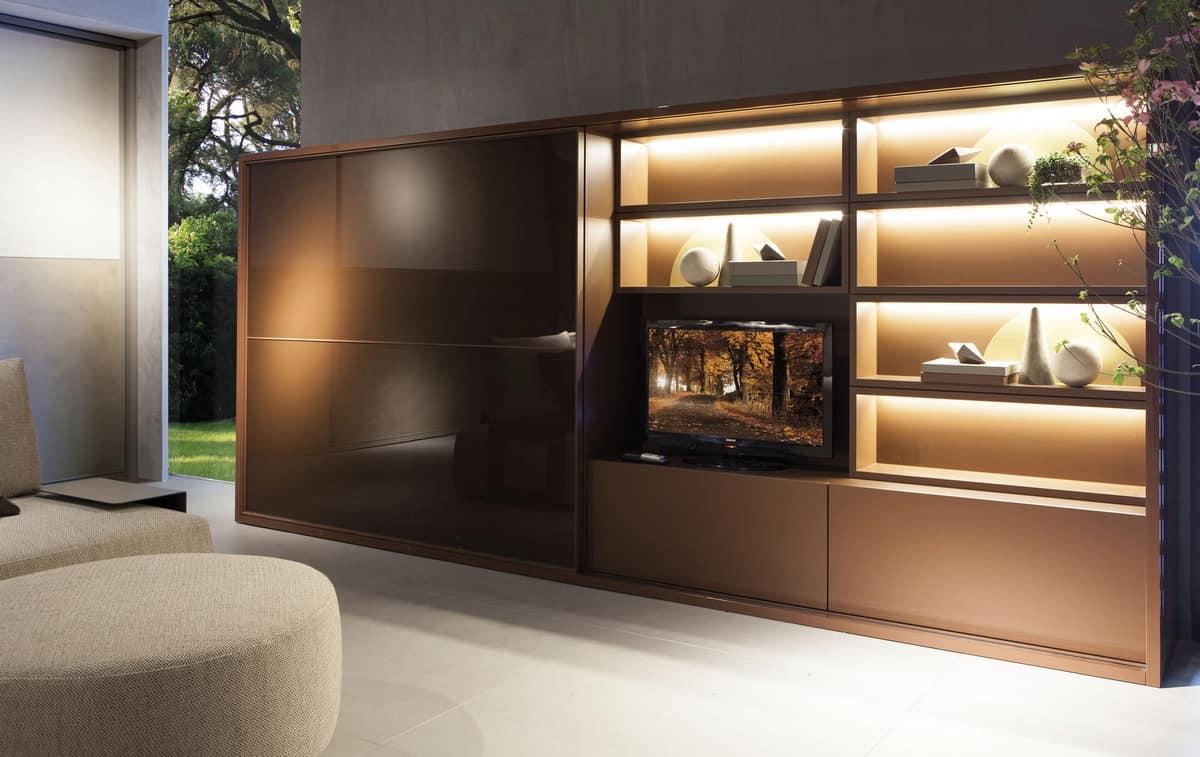 Sistema salotto con armadio libreria e vano tv  IDFdesign