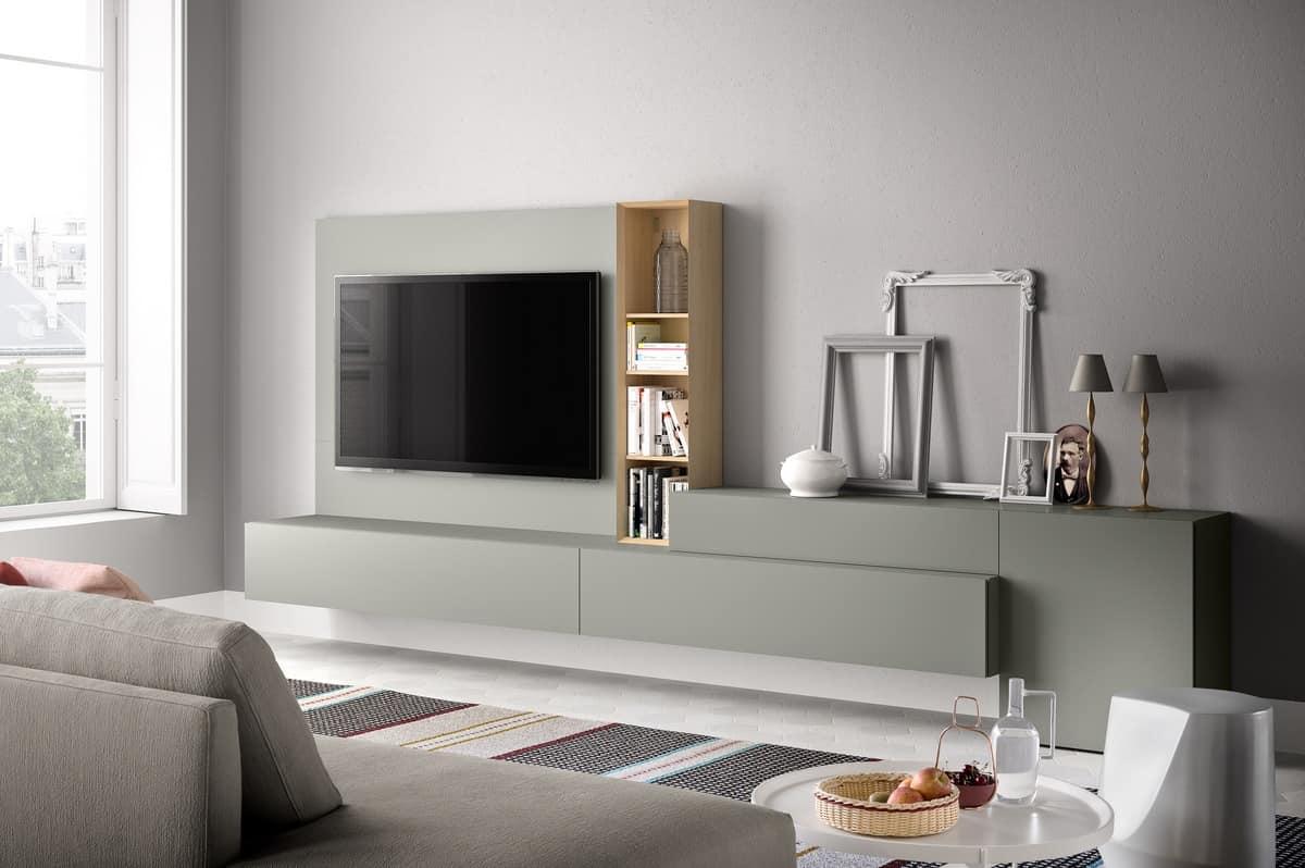 Parete attrezzata per soggiorno moderno in legno  IDFdesign