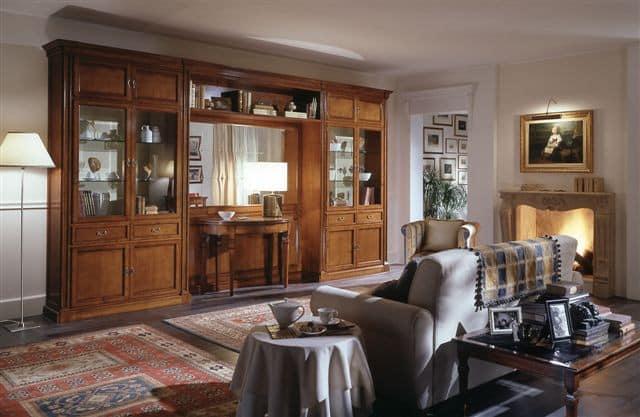 Come scegliere il soggiorno classico in offerta perfetto su mdo; Mobile Classico Per Soggiorno Con Vetrine E Specchio Idfdesign