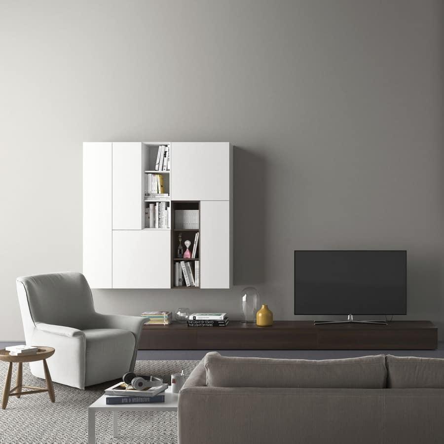 Parete attrezzata con porta tv con illuminazione  IDFdesign