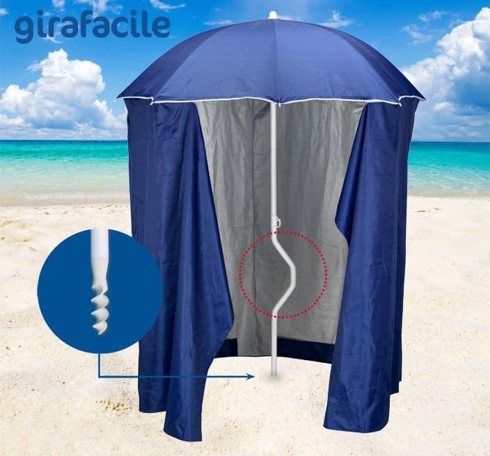 Goditi l'ombra in spiaggia in tranquillità e sicurezza! Ombrellone Con Tenda Protezione Raggi Uv Adatto Per La Spiaggie Idfdesign
