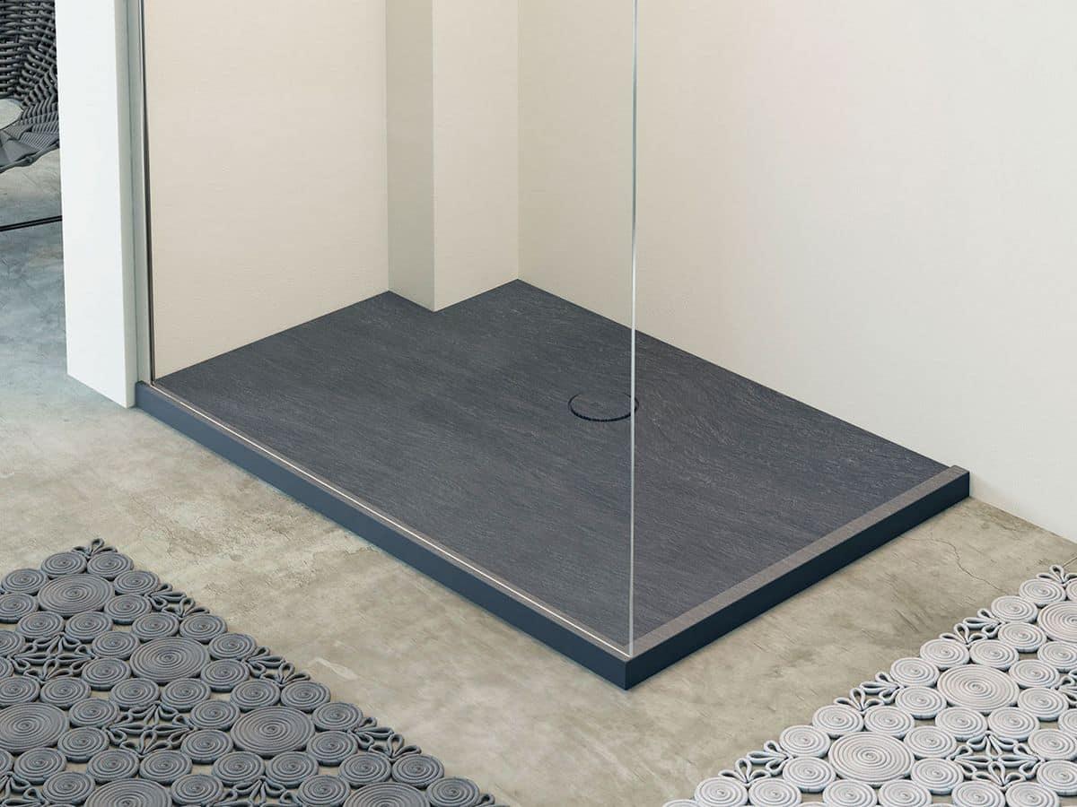 Piatto doccia in mineralite effetto pietra naturale in
