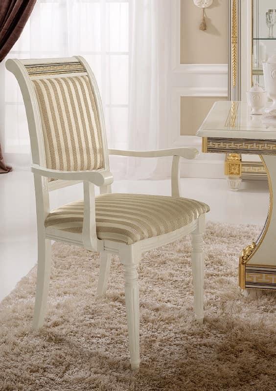 Sedia capotavolo dal design classico con preziose