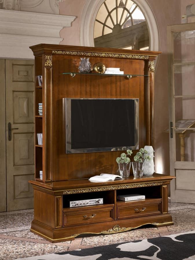 Porta tv classico in legno intagliato finitura a foglia