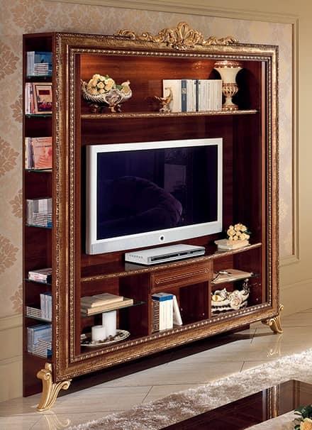 Porta tv con libreria con decori dorati semplice e