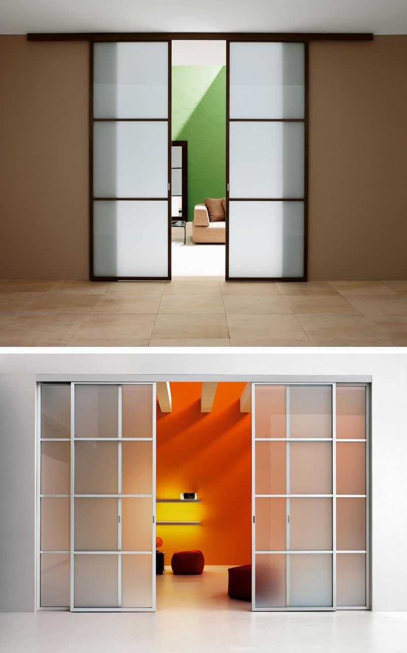 Porta scorrevole con binario ante in vetro colorato