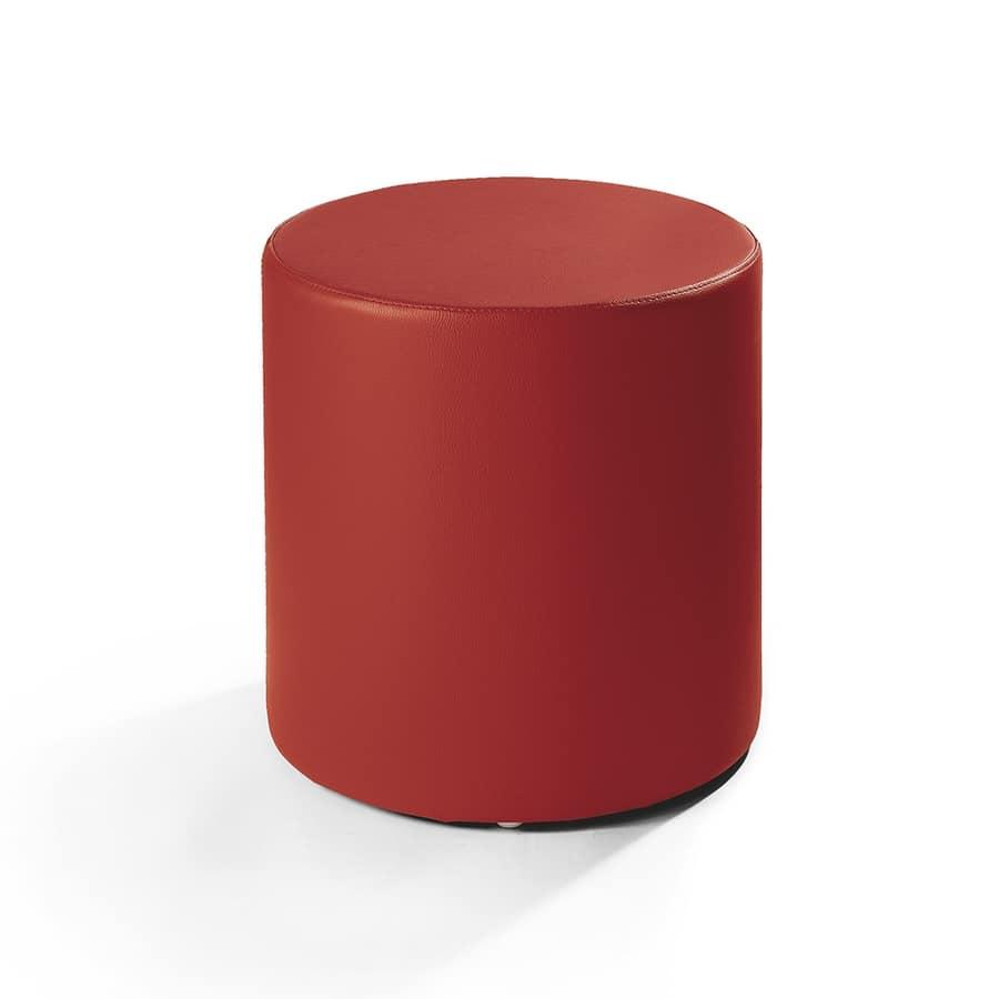 Pouff in pelle forma cilindrica per salotto moderno  IDFdesign