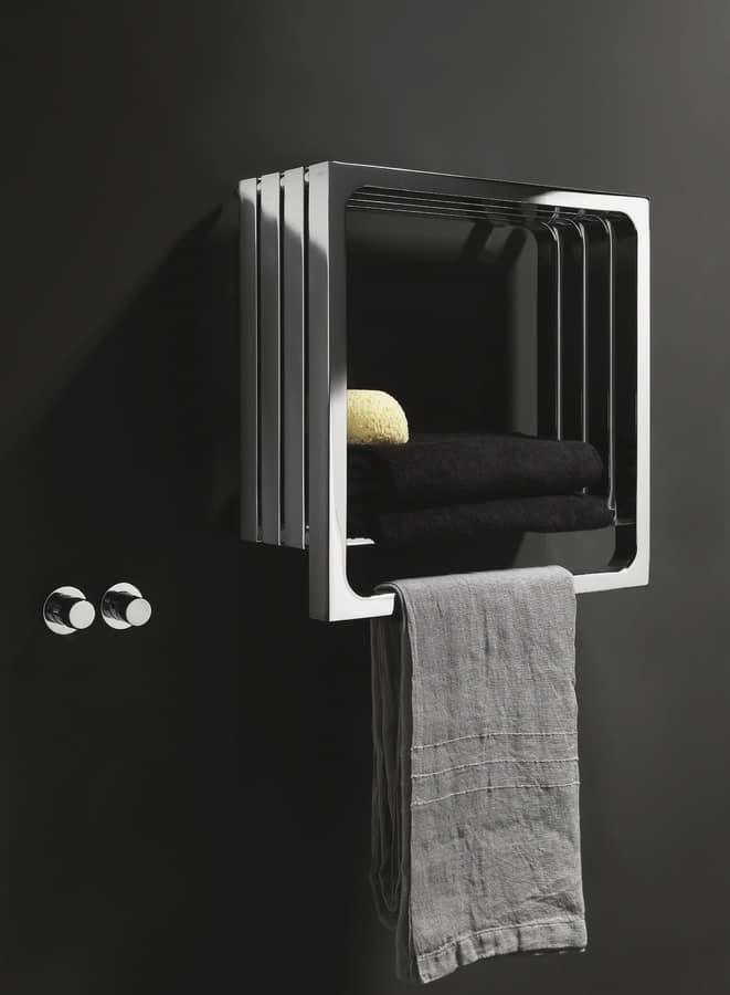 Calorifero da bagno con appendi asciugamano e mensola
