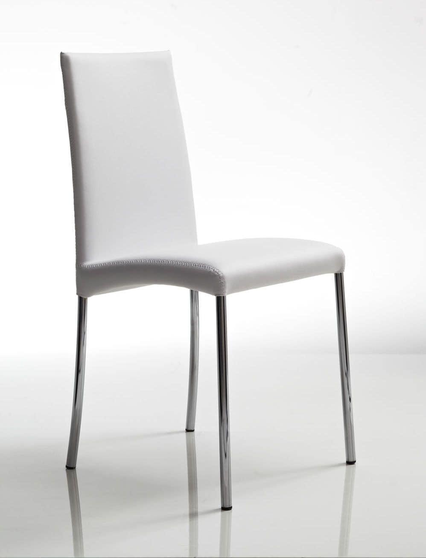 Sedia in metallo con gambe cromate rivestimento in pelle per la cucina  IDFdesign