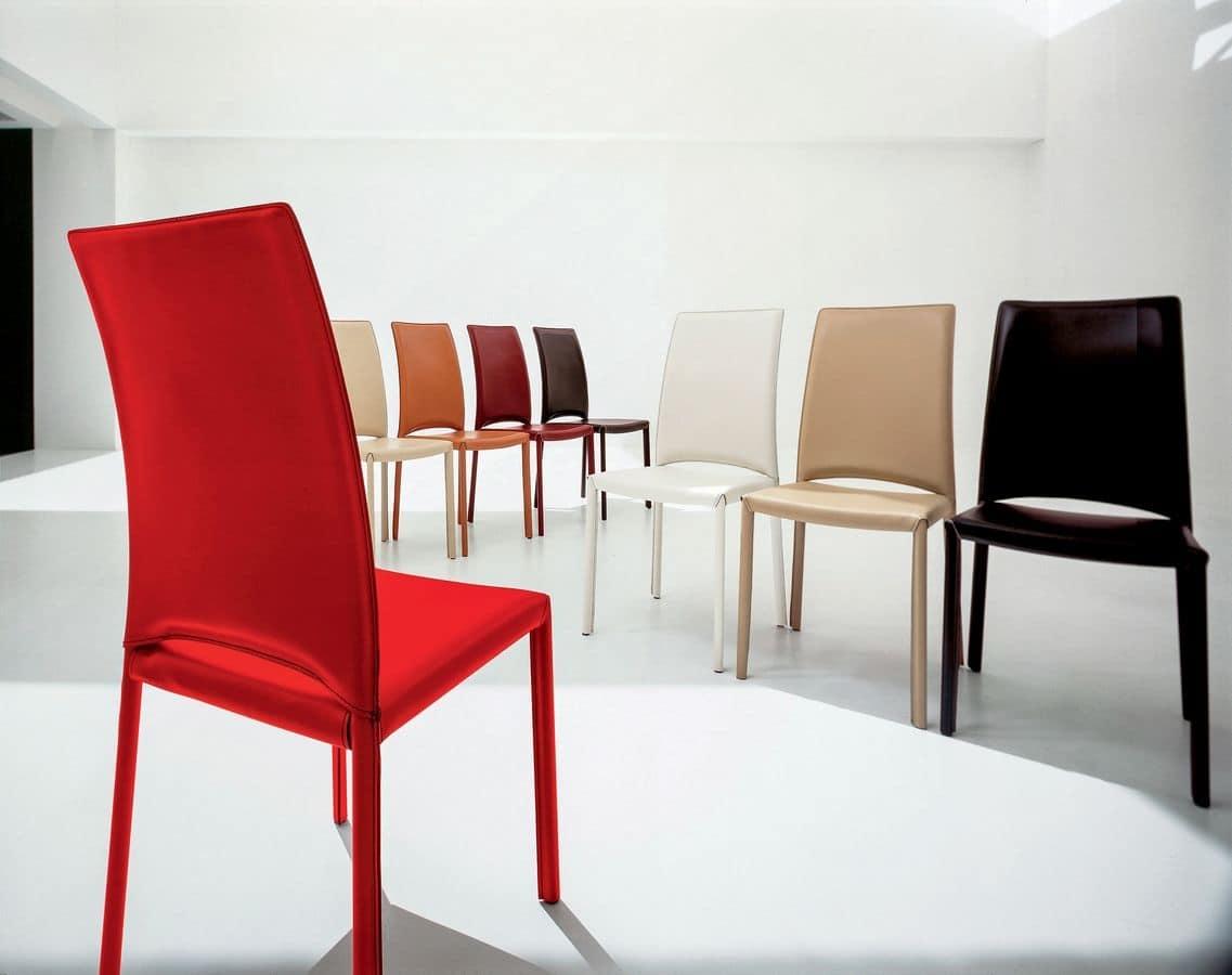 Sedia moderna in pelle per sala riunioni e ristoranti  IDFdesign