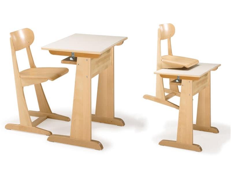 Sedia e banco in legno di faggio per asilo e scuola  IDFdesign